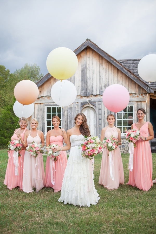 Bridesmaids with balloons on Bridal Musings