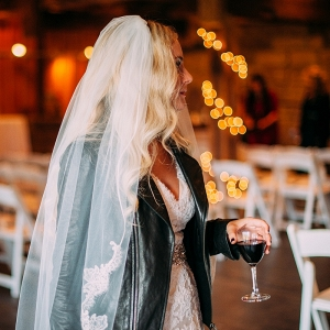 Boho Bride Black Leather Jacket Alfred Angelo Lace Wedding Dress Rock n Roll Wedding
