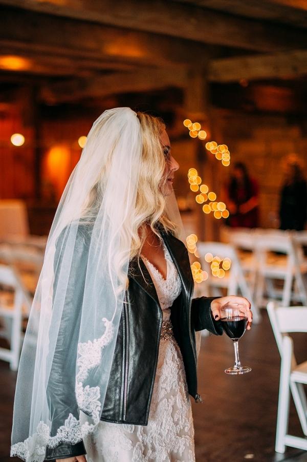 Boho Bride Black Leather Jacket Alfred Angelo Lace Wedding Dress Rock n Roll Wedding
