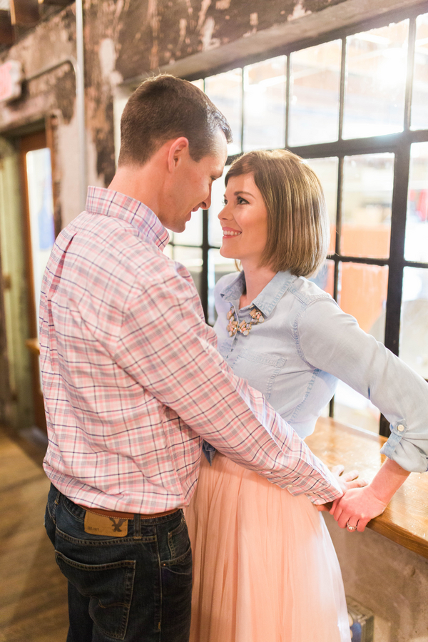 Pink Tulle Skirt Chambray Shirt Statement Necklace Sweet Romantic Bride to Be Casual Brewery Engagement Session