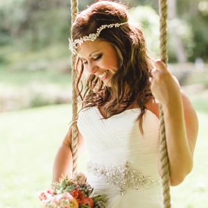 Boho Bride Wildflower Bouquet Beaded Headpiece Farm Wedding