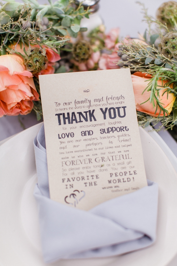 Thank You Note Place Setting Charming DIY Farm Wedding Pittsburgh