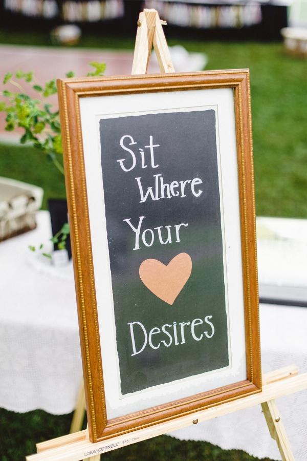 Handpainted DIY Chalkboard Sign Guests Charming DIY Farm Wedding
