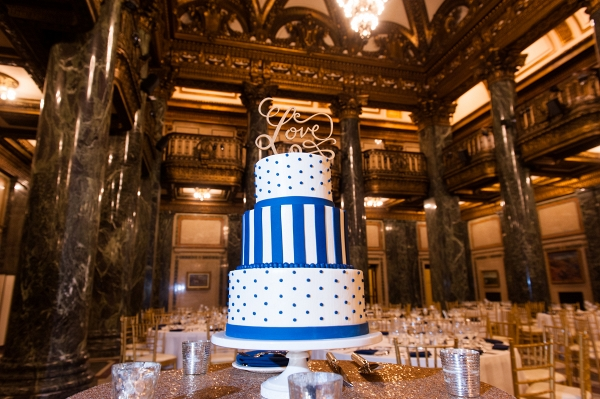A Wedding Cake with Polka Dots and Stripes was a Fun Twist at this Chic Navy Blue & Gold Museum Wedding