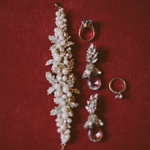 Pearl Crystal Encrusted Bracelet Earrings Chic Bridal Accessories