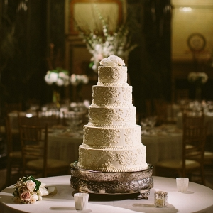 Four Tiered Lace Wedding Cake Intricate Detail Understated Museum Wedding