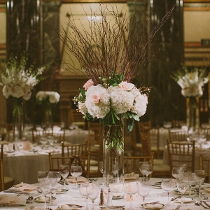 Tall Centerpieces Hydrangeas Curly Willow Branches Museum Reception Space