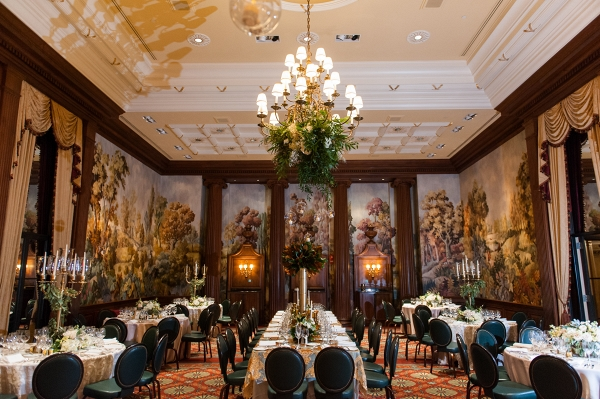 Emerald & Gold Decor is the Perfect Color Palette to This Ballroom at This Classic Emerald Winter Pittsburgh Wedding