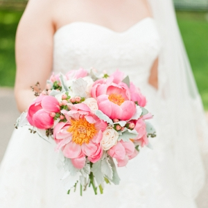 Luscious Peonies Soft Dusty Miller Beautiful Summer Bridal Bouquet Coral Gold Terrace Wedding