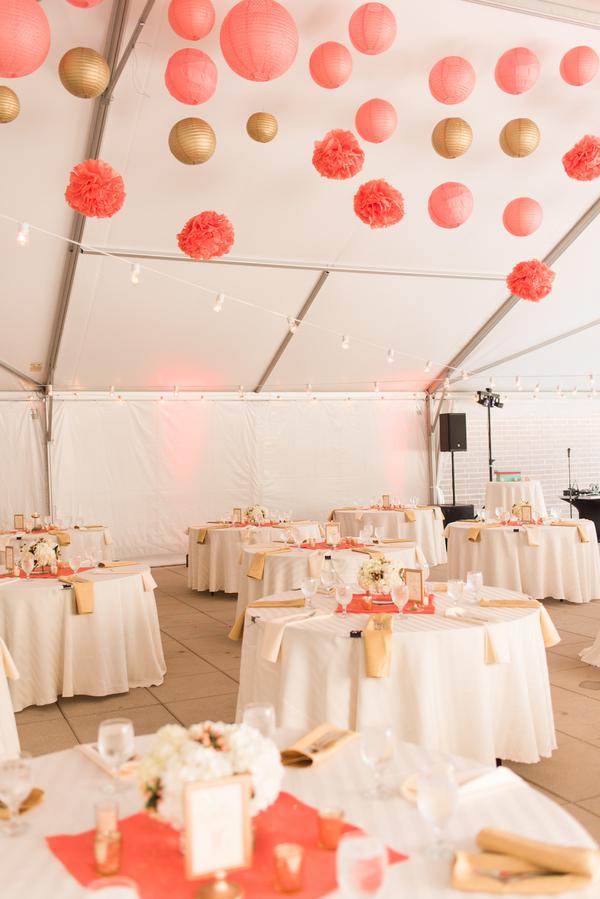 Paper Lanterns Tissue Poms Soft Uplighting Mercury Glass Metallic Accents Tent Coral Gold Terrace Wedding