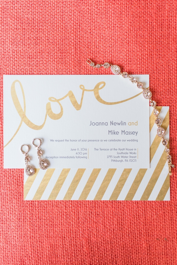 Striped Gold Foil Wedding Invitations Shiny Coral Gold Terrace Wedding