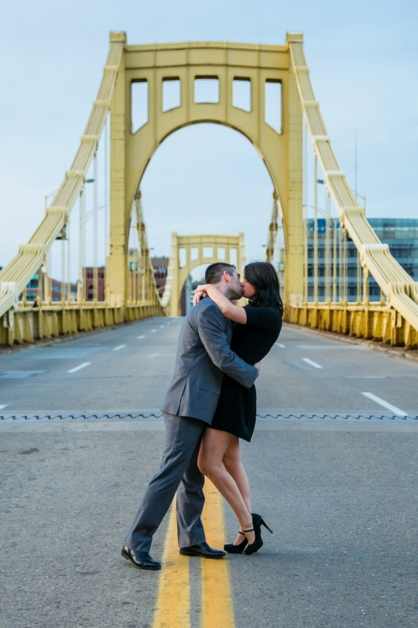 Beautiful Couple Kisses Iconic Bridge Pittsburgh Country City Engagement Session