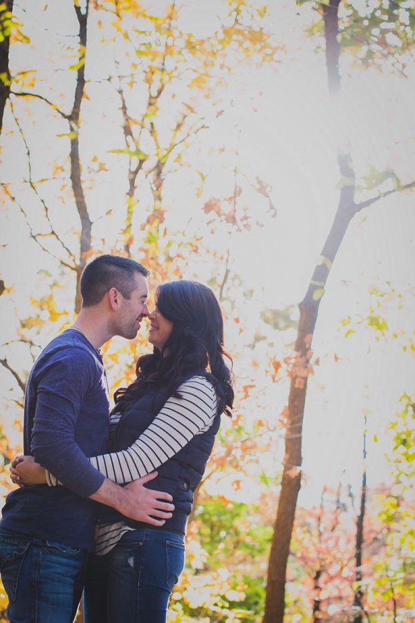 Sunlight Warm Glow Bride Groom Country City Engagement Session