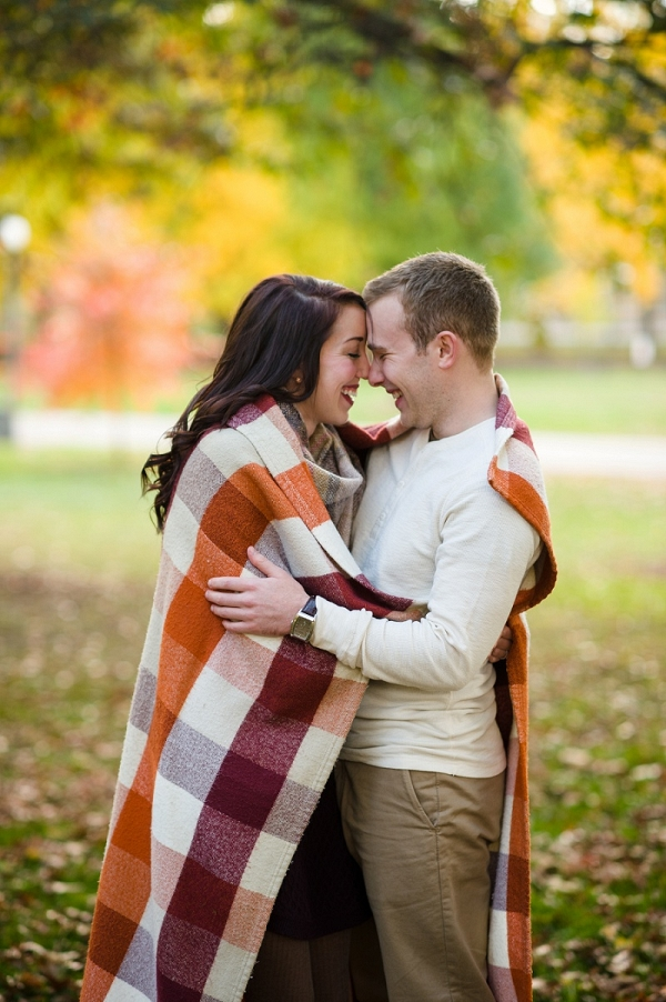 Leaves, Sweaters, and Plaid Blanket Make The Fall Portion of This Dichotomous Engagement Session Perfectly Seasonal