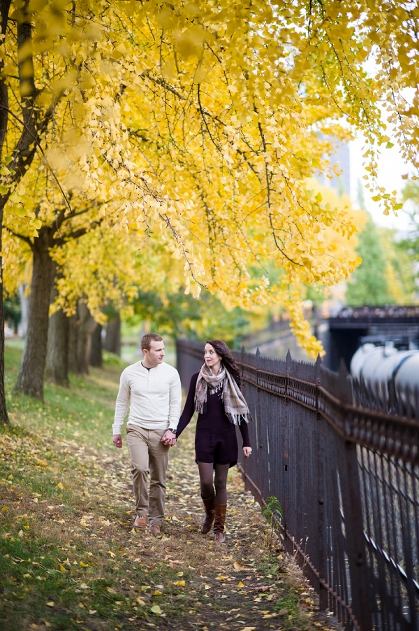 Yellow and Orange Leaves are Vibrant in the Fall Park Half of This Dichotomous Engagement Session