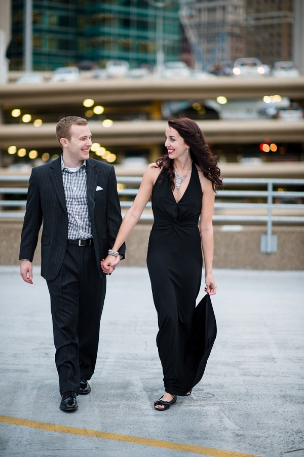 A Little Black Dress and Modern Groom Attire Take The Urban Half of This Dichotomous Engagement Session Up a Notch