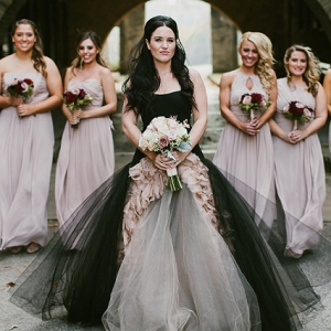 Dramatic Black Vera Wang Wedding Dress Lavender Chiffon Dessy Bridesmaids Dresses