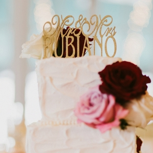 Light Dark Roses Custom Glittered Topper Buttercream Wedding Cake