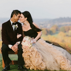 Black Vera Wang Wedding Dress Burgundy Velvet Tommy Hilfiger Jacket Dramatic Bride and Groom
