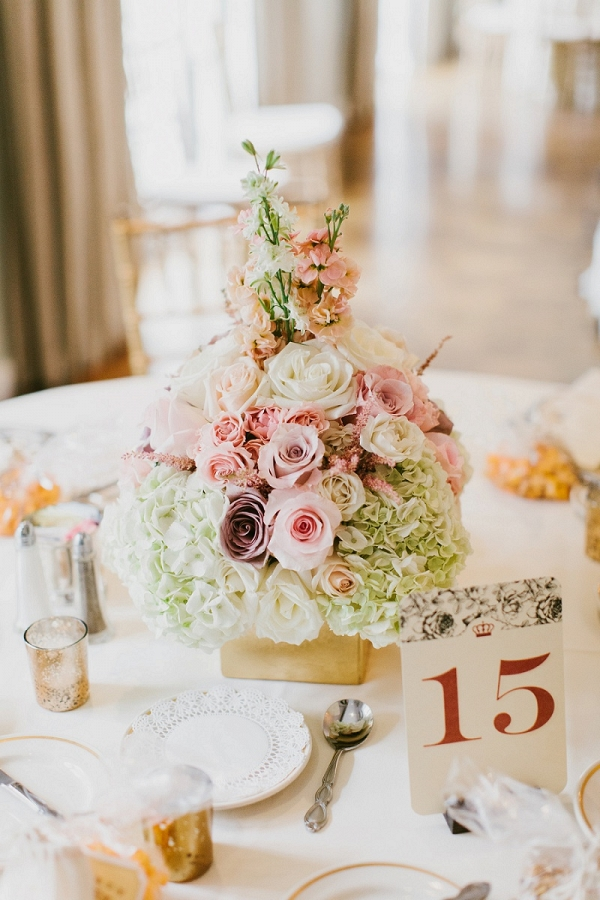 Floral Centerpiece Roses Snapdragons Hydrangeas Gold Vase Dramatic Gothic Romance Inspired Wedding