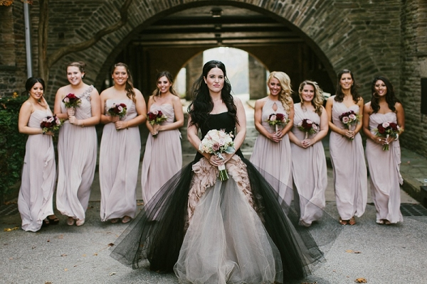 Dramatic Black Vera Wang Wedding Dress Lavender Chiffon Dessy Bridesmaids Dresses