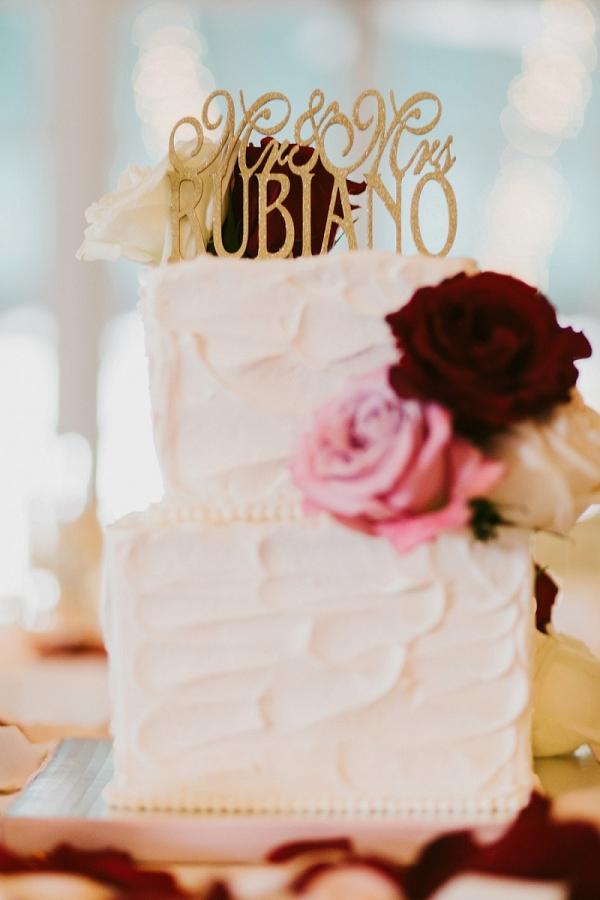 Light Dark Roses Custom Glittered Topper Buttercream Wedding Cake