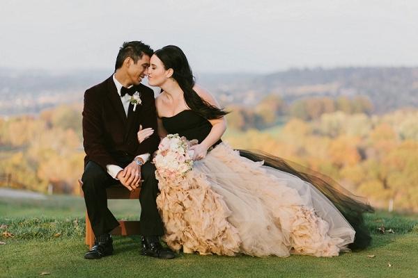 Black Vera Wang Wedding Dress Burgundy Velvet Tommy Hilfiger Jacket Dramatic Bride and Groom