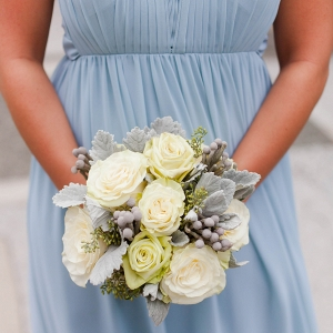 Lush White Bouquet Serenity Blue Chiffon Bridesmaid Dress