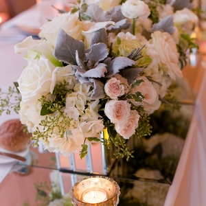 Romantic Floral Centerpieces Mercury Glass Candlelight Dreamy Beach Inspired Pittsburgh Wedding