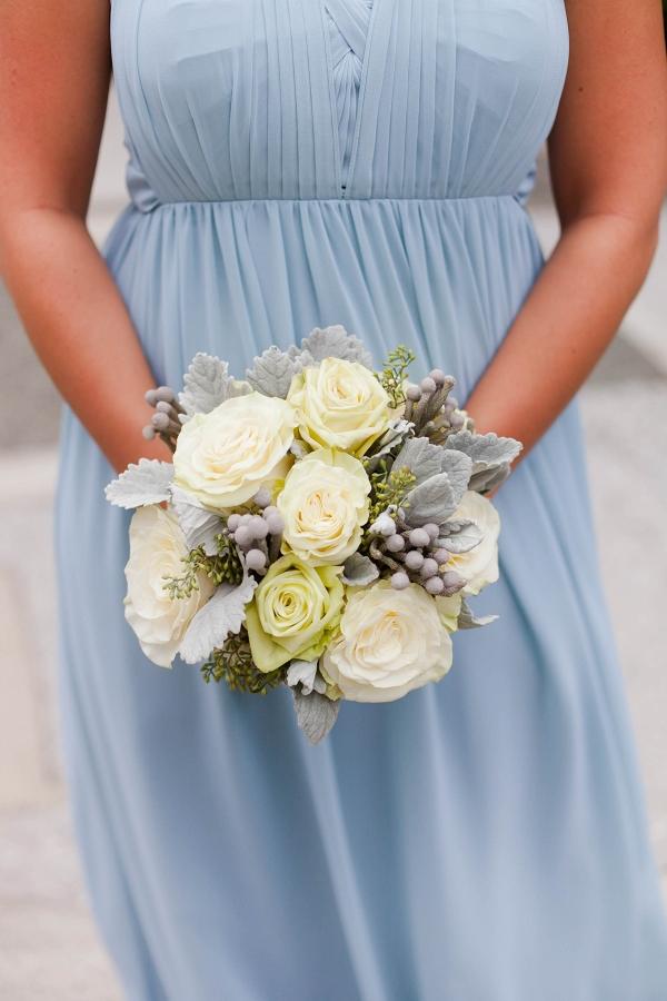 Lush White Bouquet Serenity Blue Chiffon Bridesmaid Dress