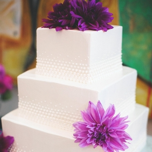 Purple Dahlias Color Three Tier Buttercream Wedding Cake Eclectic Industrial Wedding Pittsburgh