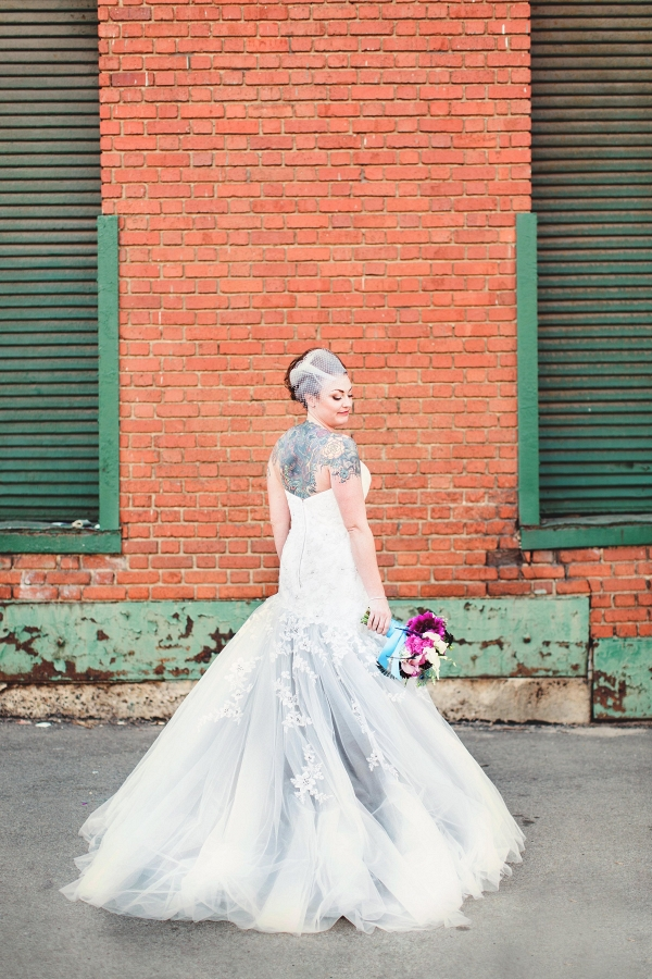 Bride Lace Beaded Gray Silver Ombre Wedding Dress Eclectic Industrial Wedding Pittsburgh