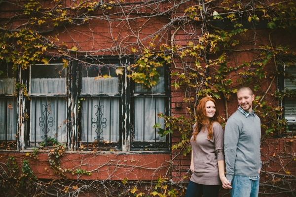 Urban Brick Building Branches Grit Fall Foliage Engagement Session