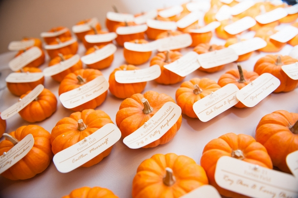 Orange Pumpkins Escort Cards Favors Fall Inspired Brunch Wedding