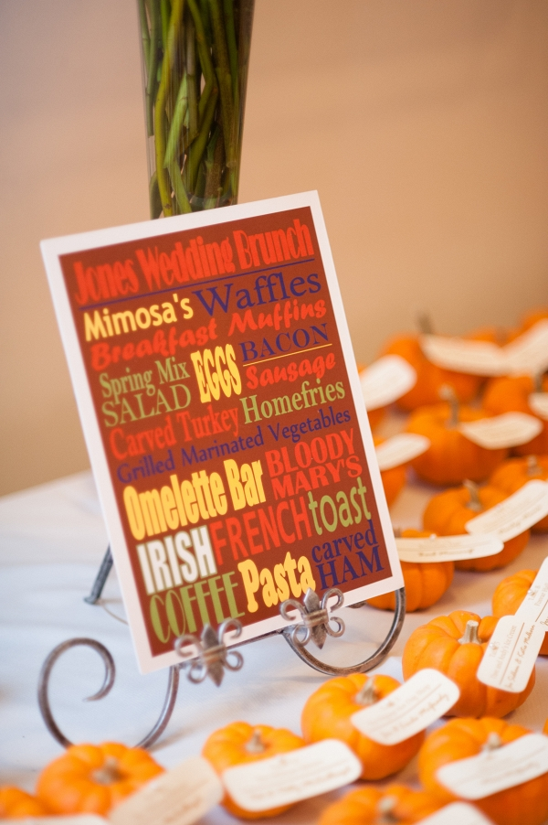 Menu Card Bloody Marys Mimosas Donuts Breakfast Favorites Fall Inspired Brunch Wedding