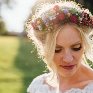 Boho Bride Colorful Floral Crown Wildflowers Festive DIY Backyard Wedding