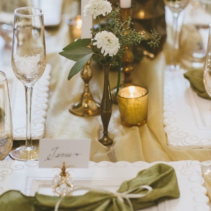 Green Napkins Gold Mercury Glass Vintage China Taper Candles Sophisticated Setting Styled Bridal Shower