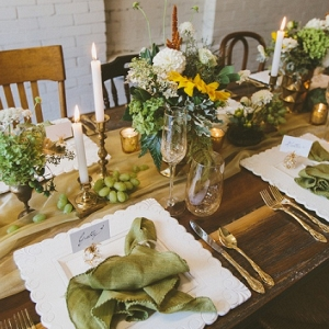 Mismatched Wooden Chairs Vintage Decor Gold Flatware Fresh Green White Florals Eclectic Pretty Tablescape Styled Bridal Shower