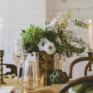 Fresh Artichokes Green White Florals Gold Decor Vintage Styled Bridal Shower
