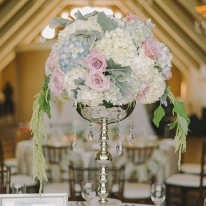 An Elevated Floral Centerpiece Hydrangeas Roses Lamb's Ear Crystals Glamorous Pastel Wedding