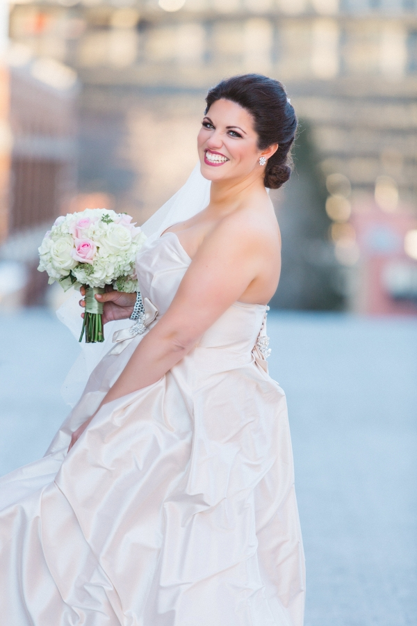 A Champagne Ballgown Wedding Dress with Beaded Accents Perfectly Suited This Glamorous Winter Wedding