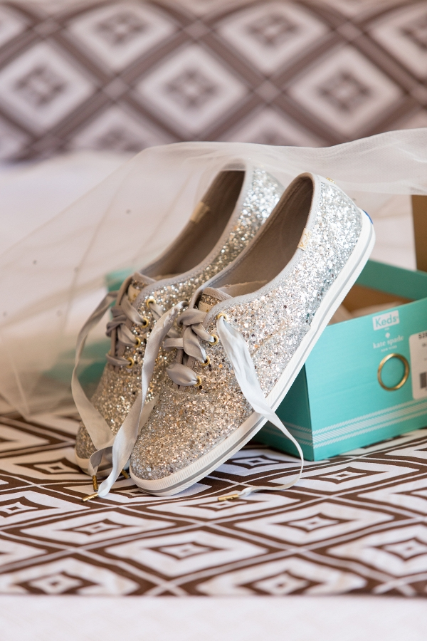 Silver Sequin Kate Spade Keds Sneakers were a Comfortable Wedding Shoe for the Bride at This Glamorous Winter Wedding