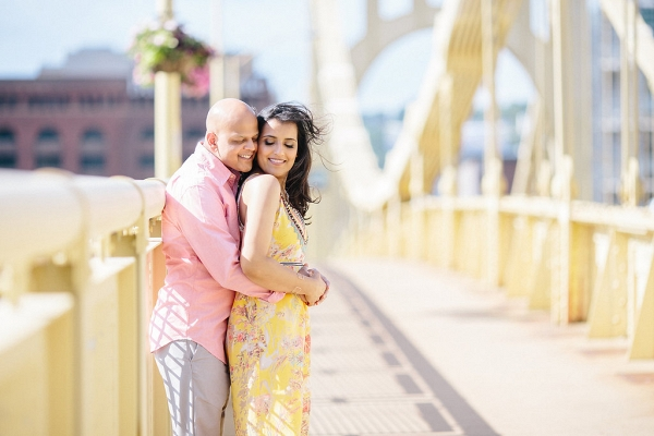 Bride Groom Iconic Pittsburgh Locations Glowing Downtown Engagement Session