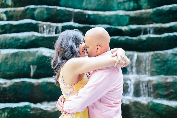 Bride Groom Waterwall Downtown Pittsburgh Glowing Engagement Session