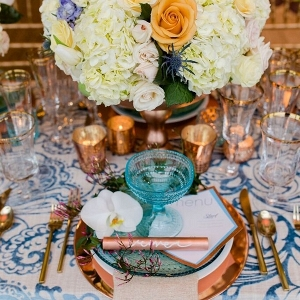 Luxurious Florals Copper Accents Turquoise Glassware Mercury Glass Asymmetrical Menu Cards Tablescape Modern Geometric Styled Shoot