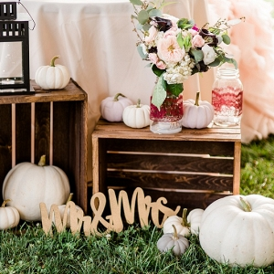 White Pumpkins, Laser Cut Wooden Details, Mason Jars, Lace, and Dramatic Colors Made a Winning Combination at This Pumpkin Inspired Fall Farm Wedding