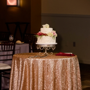 A Dainty Two Tier Cake ATop a Gold Sequin Linen was a Sweet Ending at This Rich Marsala & Blush Pittsburgh Wedding