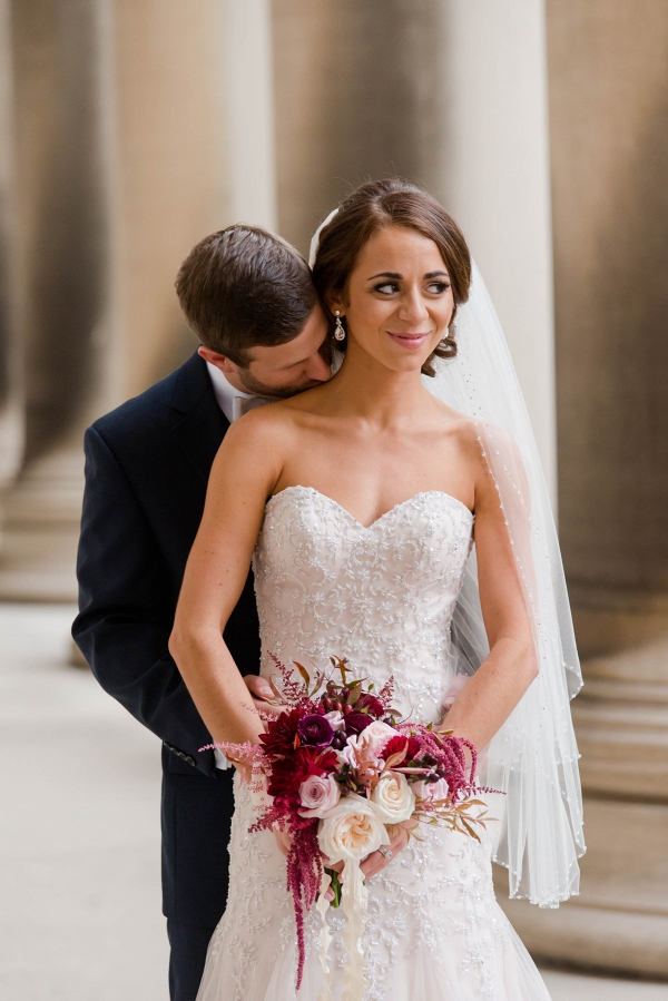 A Groom in a Navy Suit, a Bright Bouquet, and a Blush Wedding Dress were Highlights at This Rich Marsala & Blush Pittsburgh Wedding