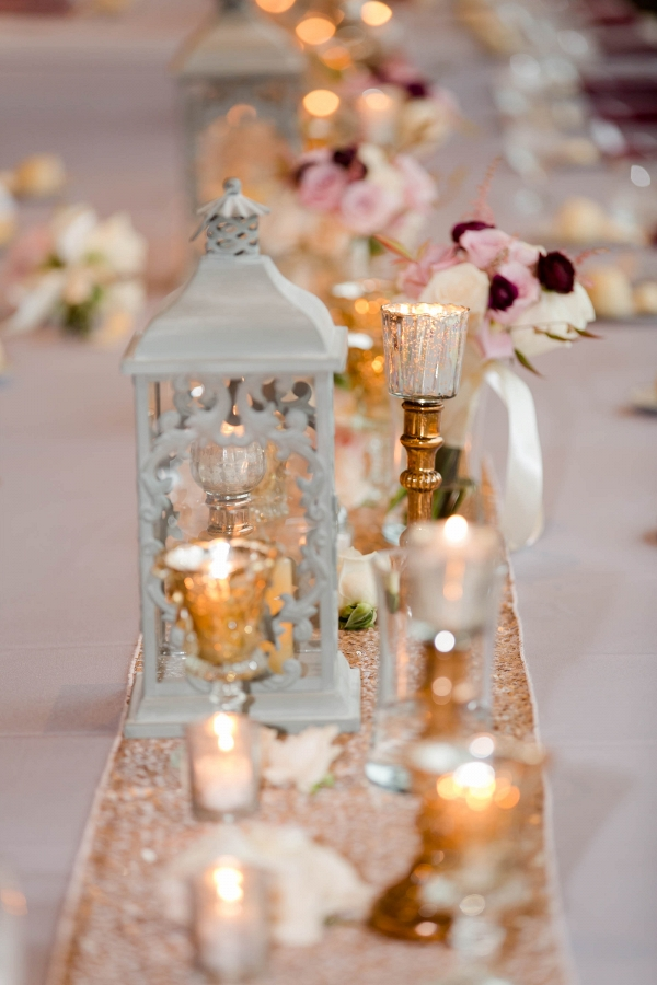 Lanterns, Candles, Flowers, and a Sequin Table Runner Adorned this Rich Marsala & Blush Pittsburgh Wedding
