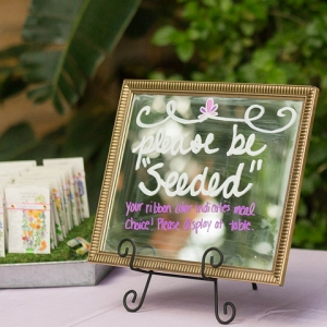 Handlettered Mirror Sign Guests Seed Packet Favor Romantic Garden Wedding